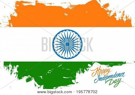 India Happy Independence Day greeting card with indian flag brush stroke background and hand lettering text design. Vector illustration.