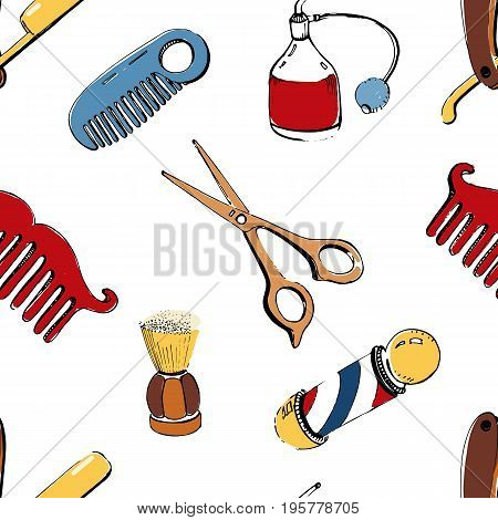 Hand drawn barbershop seamless with accessories comb, razor, shaving brush, scissors, barber s pole and bottle spray. Colorful vector illustration pattern on white background