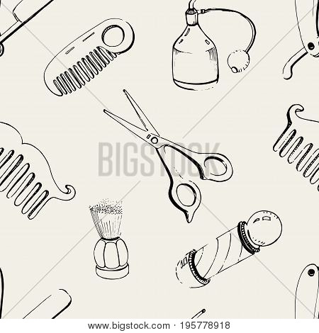Hand drawn barbershop seamless with accessories comb, razor, shaving brush, scissors, barber s pole and bottle spray. Black and white vector illustration pattern