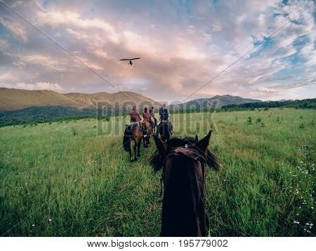 Walking on horses, a paraglider is flying to the meeting.