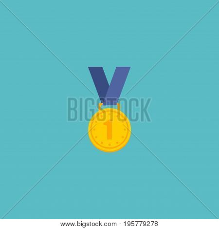 Flat Icon Winner Medal Element. Vector Illustration Of Flat Icon Reward Isolated On Clean Background