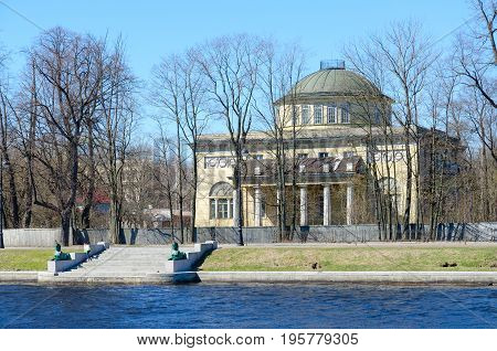 Dacha of Prince of Oldenburg (built in 1831-1833) on Kamenny Island embankment of Malaya Nevka River St. Petersburg Russia