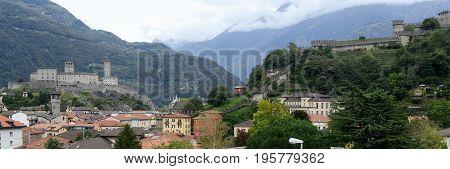 The Fort Of Castelgrande And Montebello At Bellinzona On The Swiss Alps