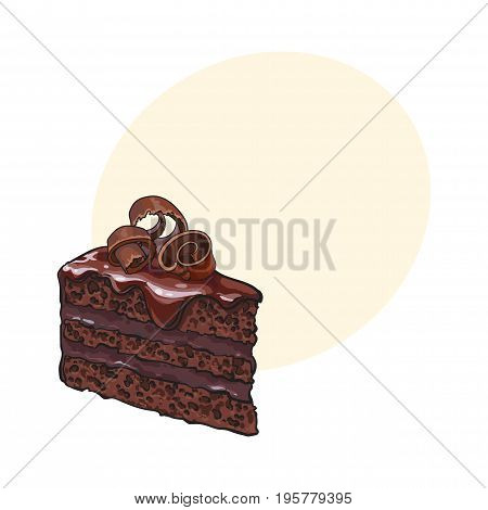 Hand drawn piece of layered chocolate cake with icing and shavings, sketch style vector illustration with space for text. Realistic hand drawing of piece, slice of chocolate cake