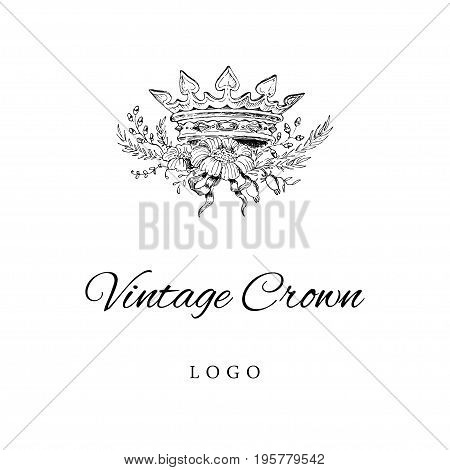 Royal Crown Logo Template. Vintage styled hand drawn logotype for person company brand.
