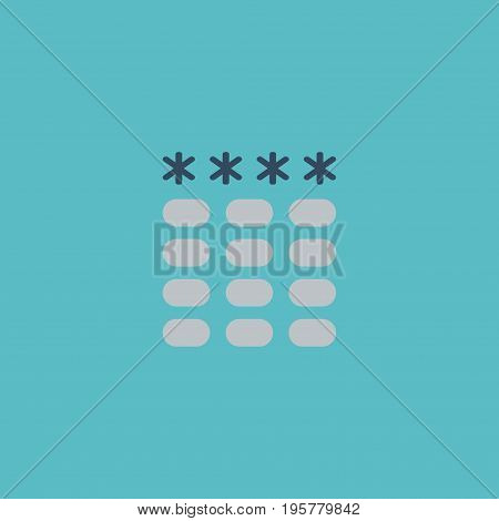 Flat Icon Password Element. Vector Illustration Of Flat Icon Keypad  Isolated On Clean Background