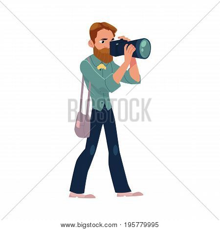 Male photographer, camera man at work taking pictures, shooting, cartoon vector illustration on white background. Full length portrait of professional photographer, photo journalist, reporter at work