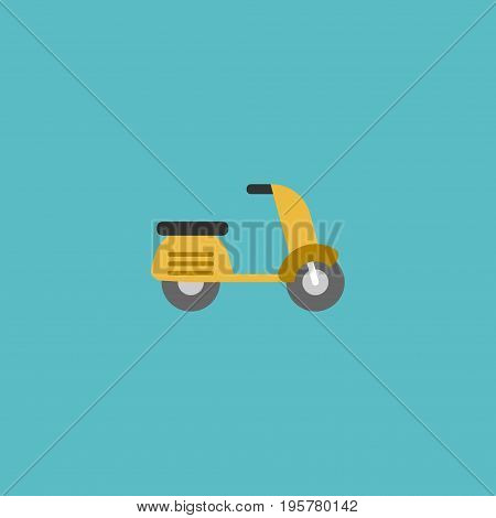 Flat Icon Moped Element. Vector Illustration Of Flat Icon Scooter Isolated On Clean Background