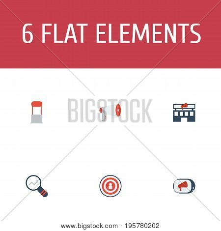 Flat Icons Advertising, Television, Megaphone And Other Vector Elements