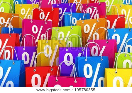 Many shopping bag and percent. 3d illustration