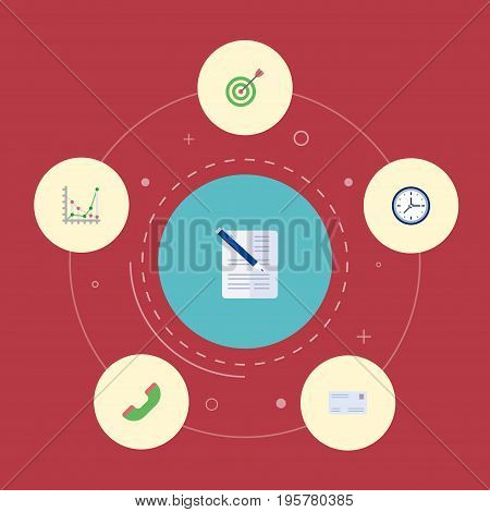 Flat Icons Contract, Clock, Goal And Other Vector Elements