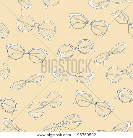 Fashionable spectacles seamless pattern. Cat points, cat glasses, circle and oval shape eyeglasses. Black and white vector illustration on light background