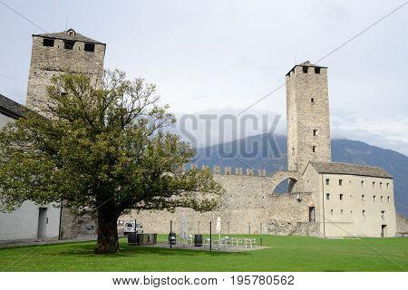 Bellinzona, Switzerland - 3 August 2015: The Fort of Castelgrande at Bellinzona on the Swiss alps Unesco world heritage