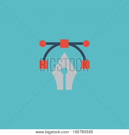 Flat Icon Bezier Curve Element. Vector Illustration Of Flat Icon Writing Isolated On Clean Background