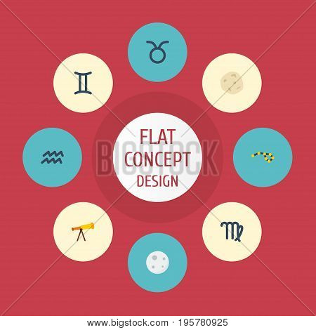 Flat Icons Twins, Lunar, Optics And Other Vector Elements