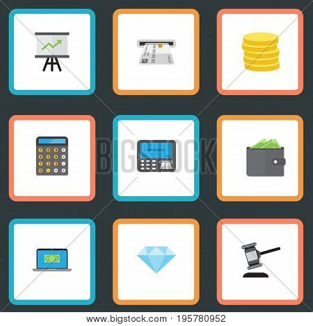 Flat Icons Computer, Jewel Gem, Teller Machine And Other Vector Elements