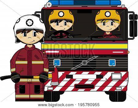 Uk Firemen In Fire Truck