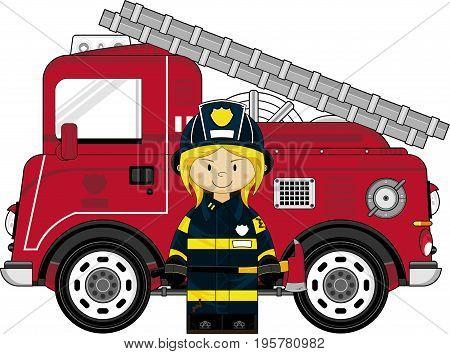 Female Firefighter & Engine.eps