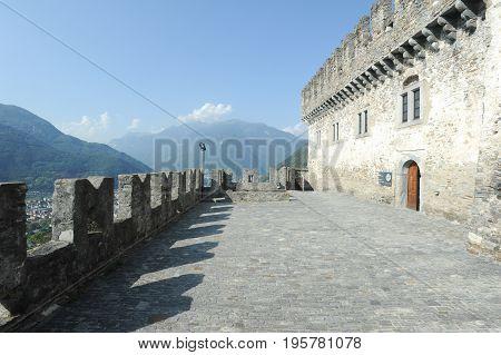 Bellinzona, Switzerland - 3 August 2015: Castle of Corbaro at Bellinzona on the Swiss alps