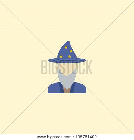 Flat Icon Astrologer Element. Vector Illustration Of Flat Icon Augur Isolated On Clean Background