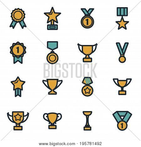 Vector flat trophy and awards icons set on white background