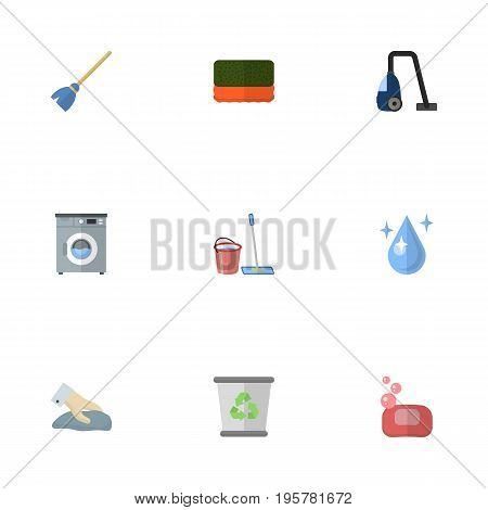 Flat Icons Garbage Container, Foam, Mopping And Other Vector Elements