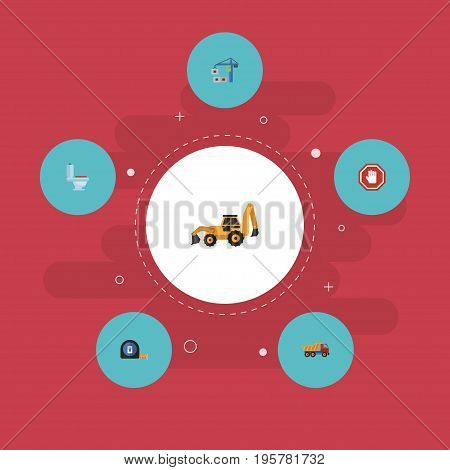 Flat Icons Roll Meter, Van, Restroom And Other Vector Elements