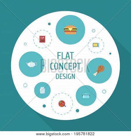 Flat Icons Teapot, Casserole, Broth And Other Vector Elements