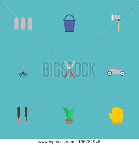 Flat Icons Latex, Fence, Plant And Other Vector Elements
