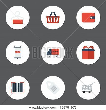 Flat Icons Present, Purse, Bag And Other Vector Elements