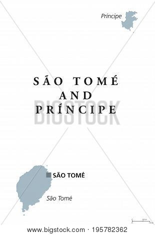 Sao Tome and Principe political map with capital. Democratic republic and island nation in the Gulf of Guinea, Central Africa. Gray illustration isolated on white background. English labeling. Vector.