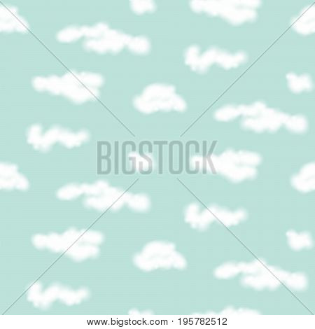 Vector realistic clouds seamless pattern. Fluffy blue soft sky background.