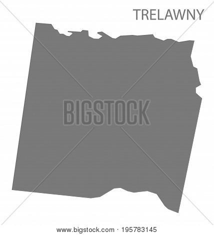 Trelawny Jamaica Region Map Grey Illustration Silhouette Shape