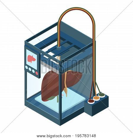 Creating artificial liver on three dimensional printer vector illustration isolated on white. Bioprinting concept, computer modeling of internal organ
