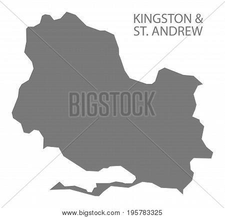Kingston And St. Andrew Jamaica Region Map Grey Illustration Silhouette Shape