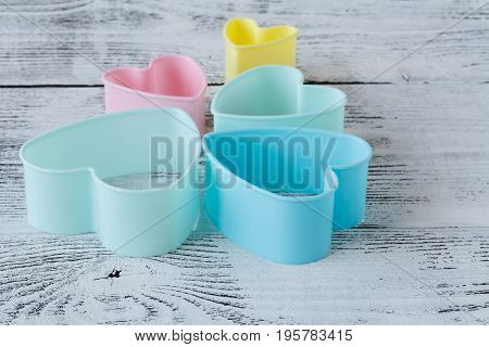 Pastry Cutter Heart On Wooden Background./ Pastry Cutter Heart