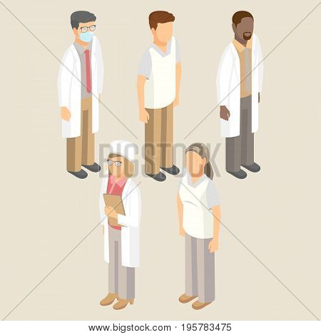Medical workers set of men and women in white uniform vector illustration. Doctors in respiratory mask, hat, sanitary nurse, surgeon and pediatrician with therapist