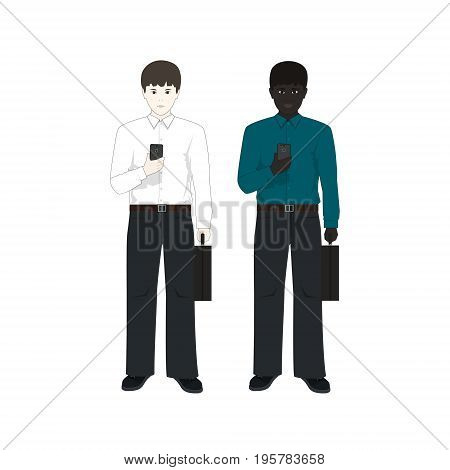 European and an African American Man with a Phone and a Briefcase, Two Businessmen, European Man in a White Shirt and an African American in a Green Shirt, Vector Illustration