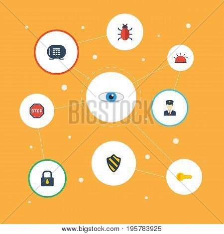Flat Icons Shield, Siren, Clue And Other Vector Elements
