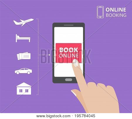 Smartphone with hand touching book button on screen. Online booking design concept for mobile phone. Hotel, flight, car, tickets.