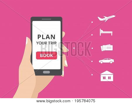 Hand holding smartphone with book button on screen. Online booking design elements. hotel, flight, car, tickets. Plan a trip concept for mobile phone.