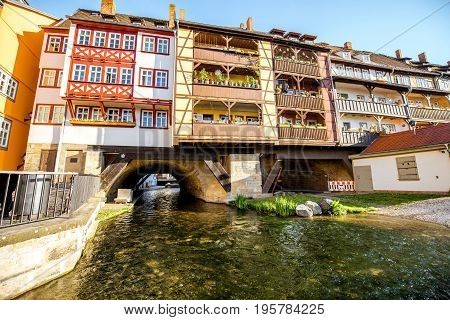 Morning view on the famous Merchants bridge in Erfurt city, Germany