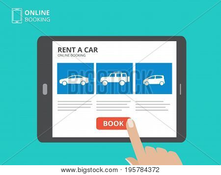 Hand touching screen of tablet computer with car icons and book button. Design concept of car hire mobile application. Flat design vector illustration