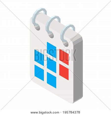 Calendar colorful isolated on white three dimensional vector illustration in graphic design. Closeup poster of special notebook with dates and info in 3D