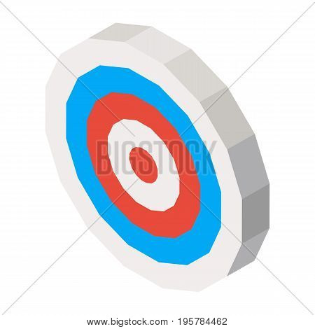 Empty dartboard with blue and red lines isolated on white. Vector three dimensional illustration with sport symbol in round shape for business purpose