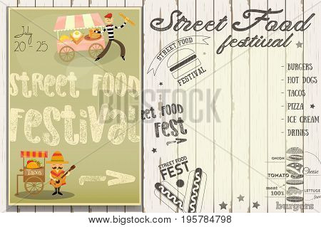 Street Food and Fast Food Truck Festival - French and Mexican Stall. Template Design. Poster on White Wooden Background with Text. Vector Illustration.