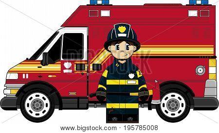 Firefighter Boy & Van.eps