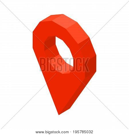 Point location 3D business icon vector illustration isolated on white. Pointer or place marker on map, symbol of navigation, Global Positioning System gps concept