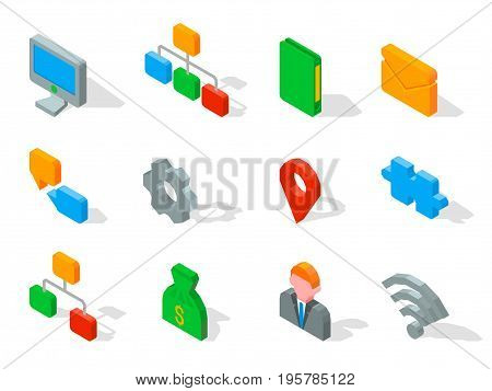 Set of business 3D icons vector illustration isolated on white. Computer symbol, wi-fi connection, avatar userpic, mail and chart logo design with hierarchy network icon