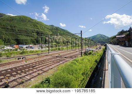 The railway in Narai is a small town and the old town in Nagano Prefecture Japan.